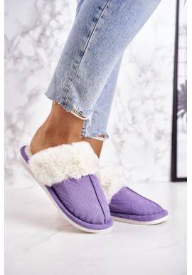 Teplé dámske papuče fialovej farby