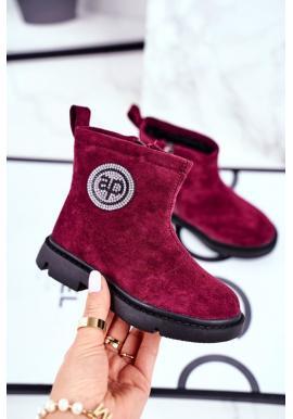 Dievčenské semišové topánky v bordovej farbe
