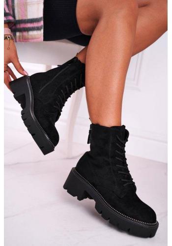 Semišové dámske topánky v čiernej farbe