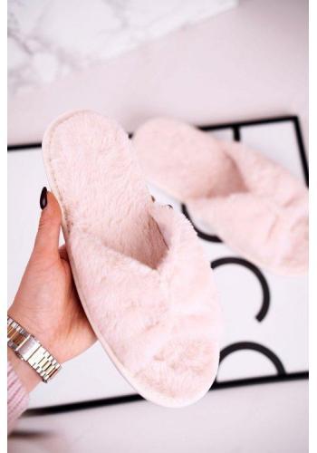 Štýlové kožušinové papuče béžovej farbe