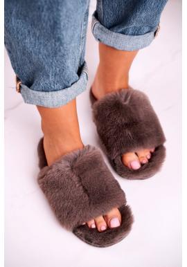 Kožušinové papuče hnedej farby pre dámy