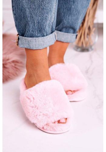 Dámske kožušinové papuče ružovej farby