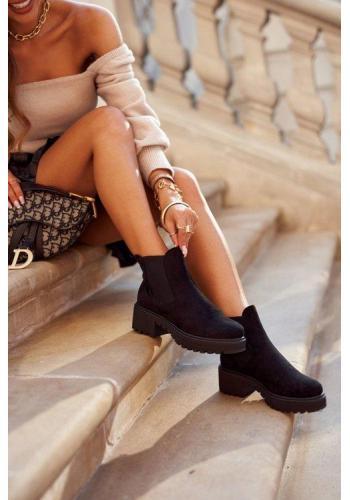 Čierne zateplené topánky na podpätku