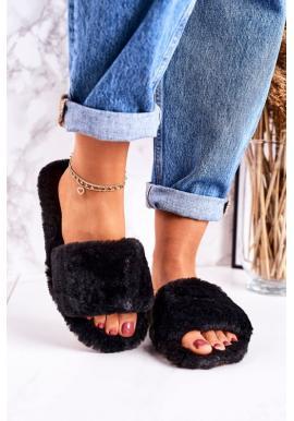 Čierne kožušinové papuče pre dámy