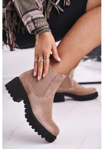 Semišové dámske topánky v béžovej farbe