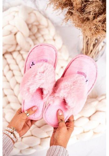 Ružové teplé papuče s potlačou medveďa