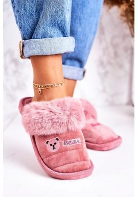 Teplé papuče s potlačou medveďa v tmavoružovej farbe