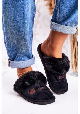 Trendy papuče čiernej farby s potlačou medveďa