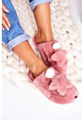 Teplé papuče púdrovej farby s hviezdou
