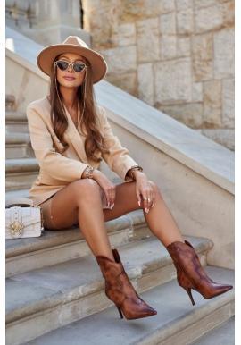 Hnedé dámske topánky na vysokom podpätku
