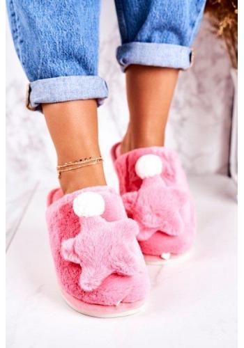 Dámske kožušinové ružové papuče s hviezdou