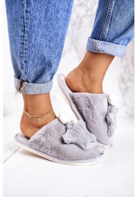 Trendy papuče s hviezdou sivej farby