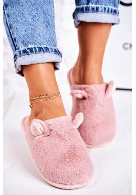 Štýlové papuče pudrovo ružovej farby s ušami