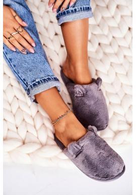 Kožušinové sivé papuče s ušami pre dámy