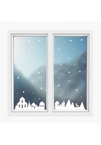 Sada vianočných nálepiek v podobe zimných domčekov