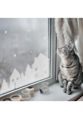 Vianočná sada nálepiek v podobe zimných domčekov