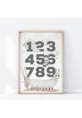 Detský plagát s vesmírnym motívom a s číslami