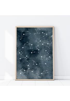 Vesmírny plagát s hviezdnymi súhvezdiami
