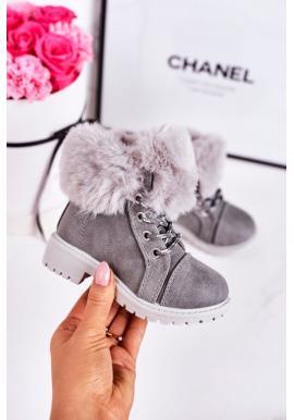 Sivé oteplené traperky pre dievčatá s kožušinou