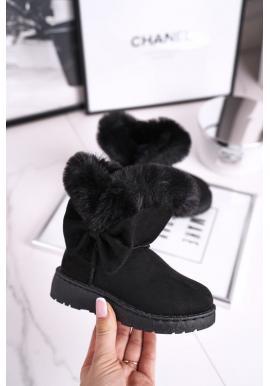 Čierne snehule pre dievčatá s kožušinou