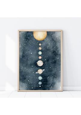 Plagát s vesmírnym motívom slnečnej sústavy
