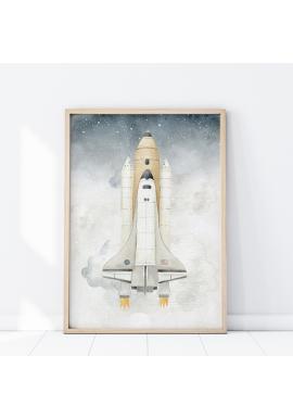 Vesmírny plagát s motívom rakety