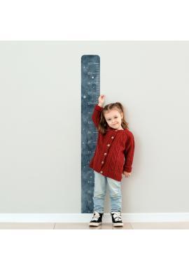 Tmavomodrý detský výškový meter s motívom nočnej oblohy