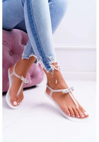 Biele gumené sandále so zirkónmi na mašli pre dámy