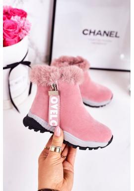 Ružové oteplené snehule s kožušinou pre dievčatá