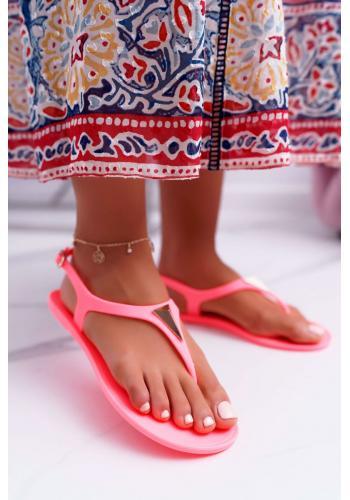 Gumené dámske sandále oranžovej farby s ozdobou