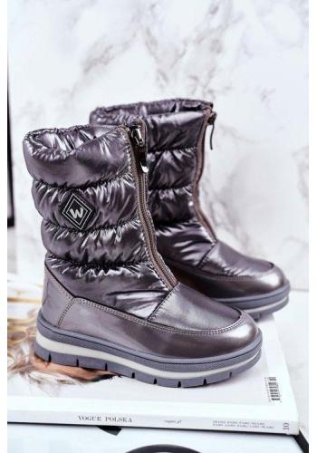 Dievčenské metalické oteplené snehule v tmavosivej farbe