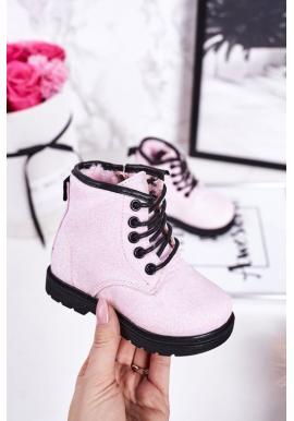 Dievčenské trblietavé oteplené čižmy v ružovej farbe