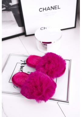 Kožušinové papuče ružovej farby pre dievčatá