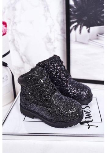 Čierne oteplené trblietavé čižmy pre dievčatá