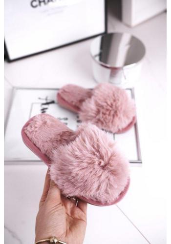 Teplé papuče púdrovej farby pre dievčatá