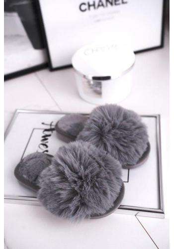 Sivé kožušinové papuče pre dievčatá