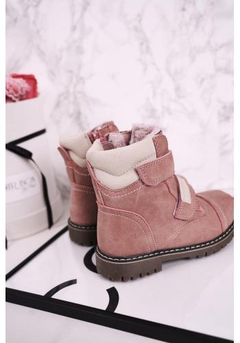 Ružové oteplené čižmy na suchý zips pre dievčatá