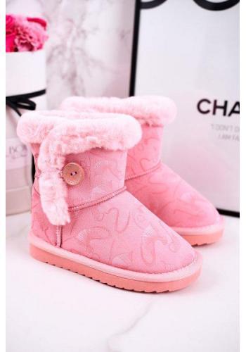 Štýlové svetlo ružové snehule pre dievčatá s kožušinou