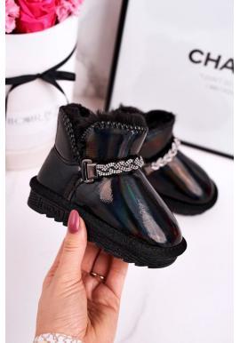 Trendy lesklé čierne snehule pre dievčatá