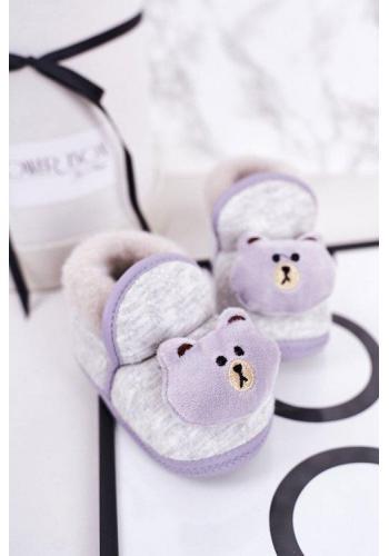 Papuče v sivej farbe s medvedíkom pre bábätká