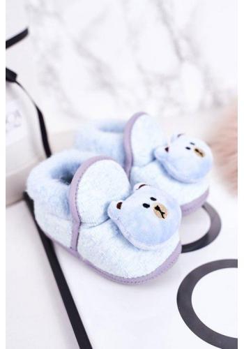 Modré papuče s medvedíkom pre bábätká
