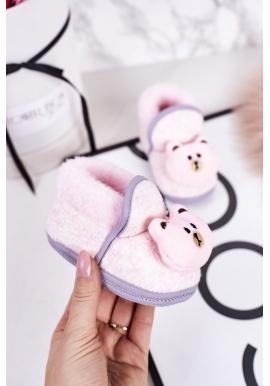 Štýlové papuče ružovej farby s medvedíkom pre bábätká