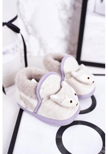 Papuče v sivej farbe s líškou pre bábätká