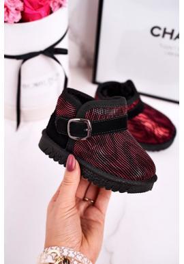 Dievčenské oteplené snehule červeno-čiernej farby