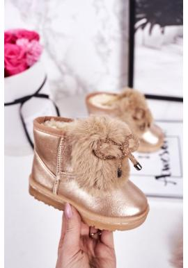 Štýlové zlaté oteplené snehule s kožušinou pre dievčatá