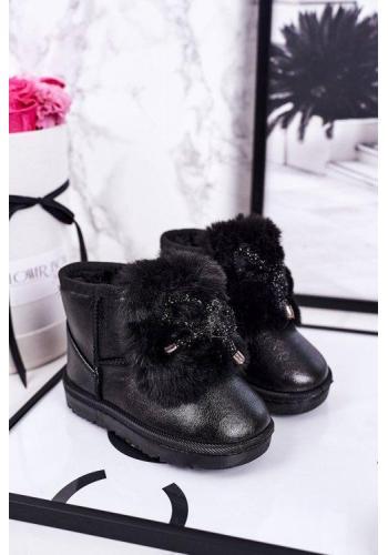 Čierne oteplené snehule s kožušinou pre dievčatá