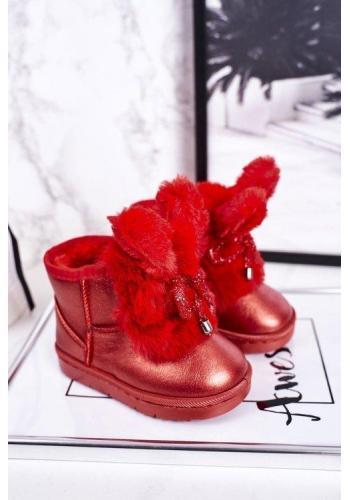 Červené oteplené dievčenské snehule s uškami