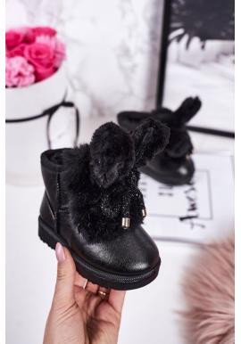 Dievčenské oteplené snehule s uškami v čiernej farbe