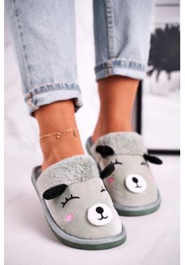 Dámske papuče zelenej farby s lamou