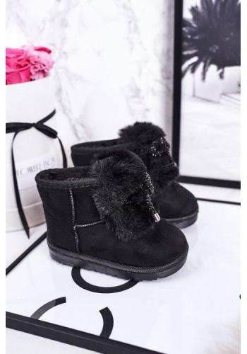 Čierne dievčenské oteplené snehule so zdobením
